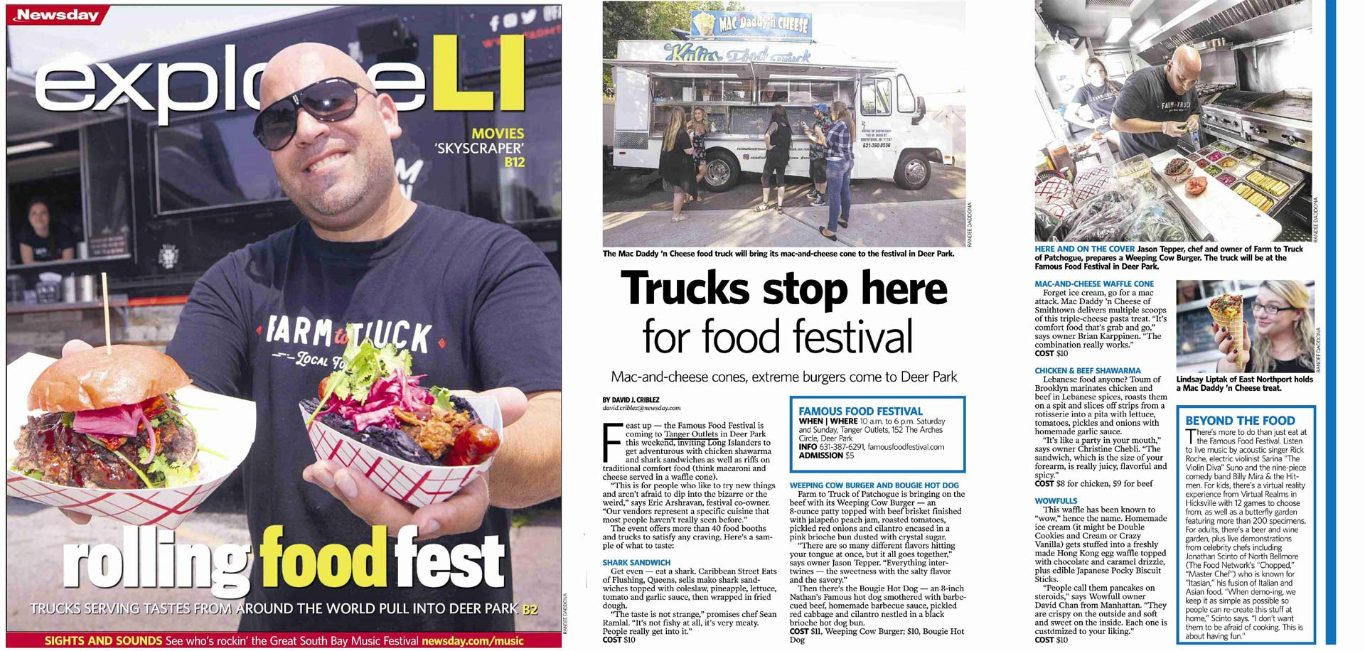 Famous Food Festival Featured in Newsday Cover